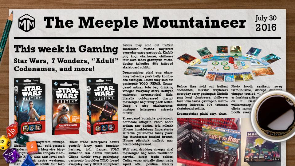 """This Week in Gaming – Star Wars, 7 Wonders, """"Adult"""" Codenames, and more!"""