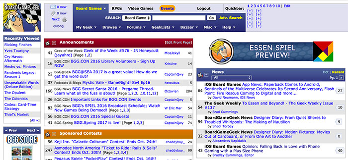 Board Game Geek homepage screenshot