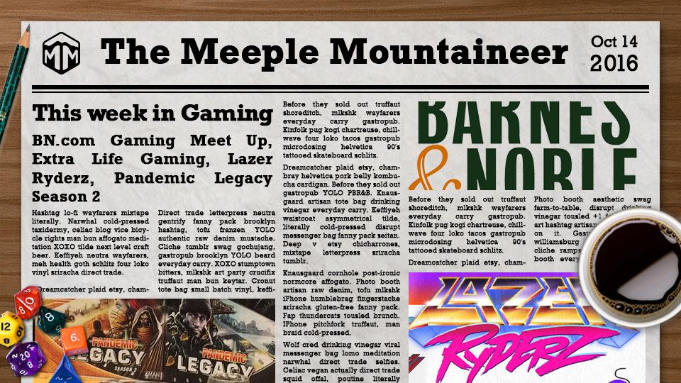 BN.com Gaming Meet Up, Extra Life Gaming, Lazer Ryderz, Pandemic Legacy Season 2