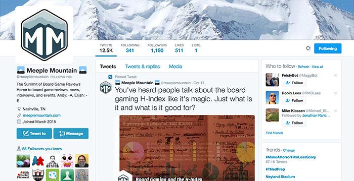 Meeple Mountain on Twitter screenshot