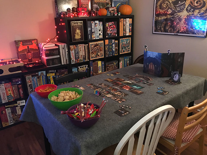 Spooky game night set up