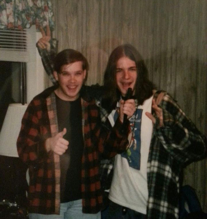 My buddy B.J. and I goofing around just a few short years before I discovered board games. I'm in the red flannel shirt. How very 90's of me!