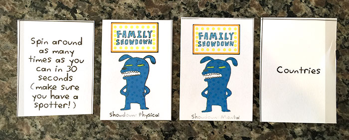 Family Showdown - showdown cards