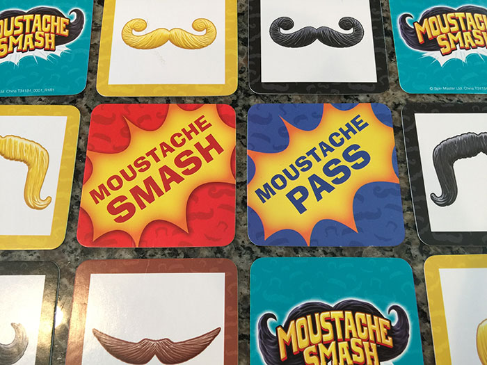 Moustache Smash cards
