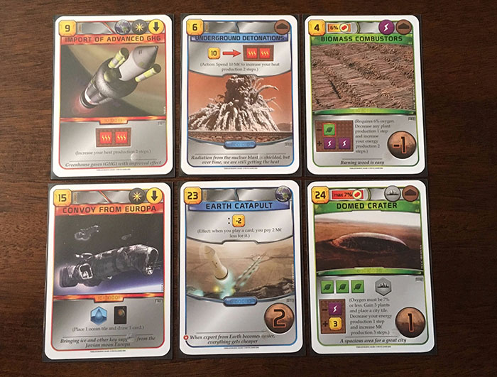 Terraforming Mars action cards