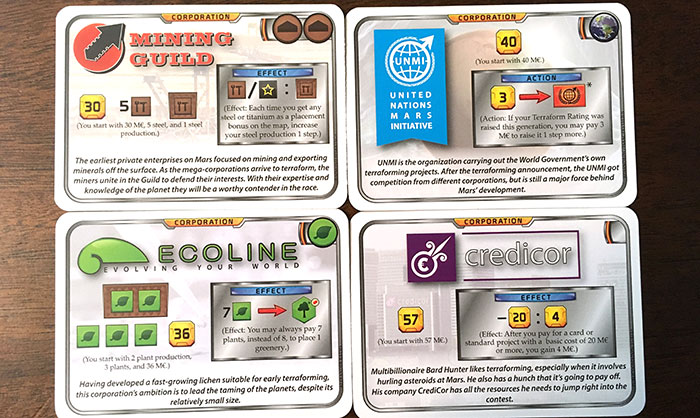 Terraforming Mars corporation cards