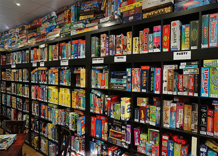 Board games on shelves