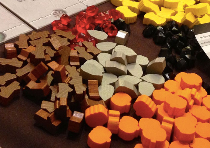 Wooden board game components