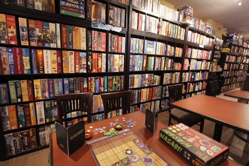 A typical board game cafe library