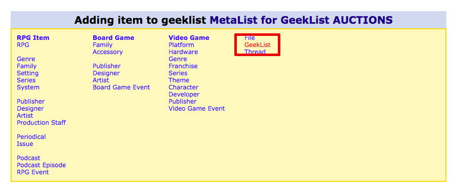 Adding geek list to metalist