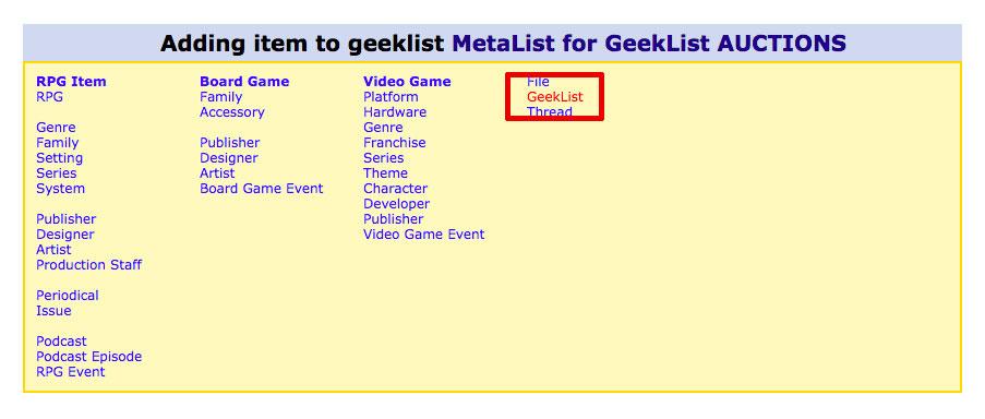 Adding geek list to metalist