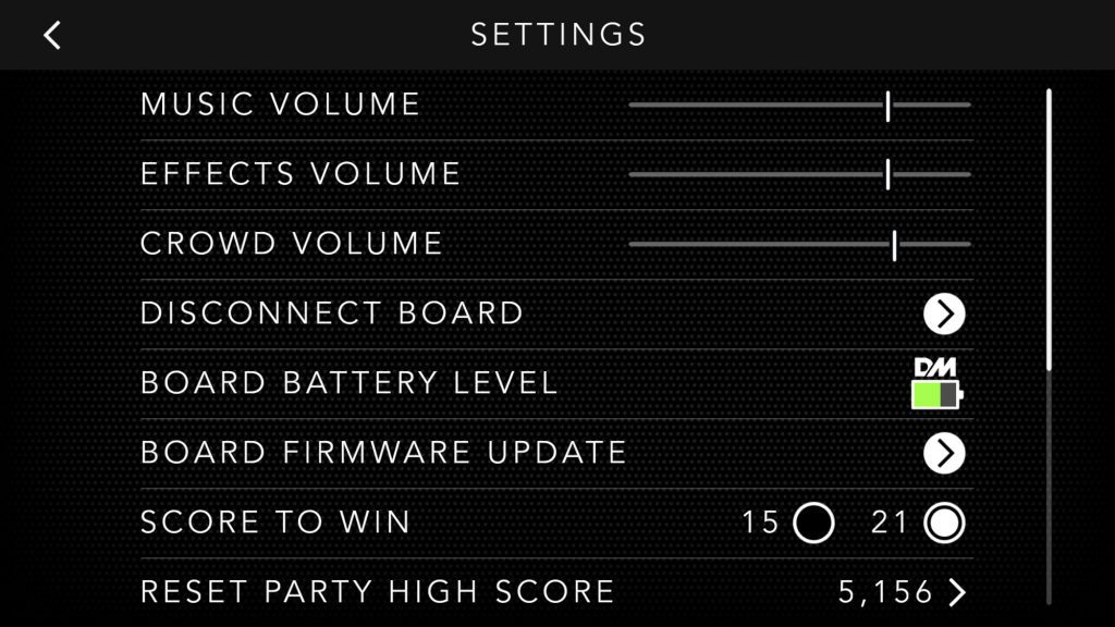 Dropmix settings screen