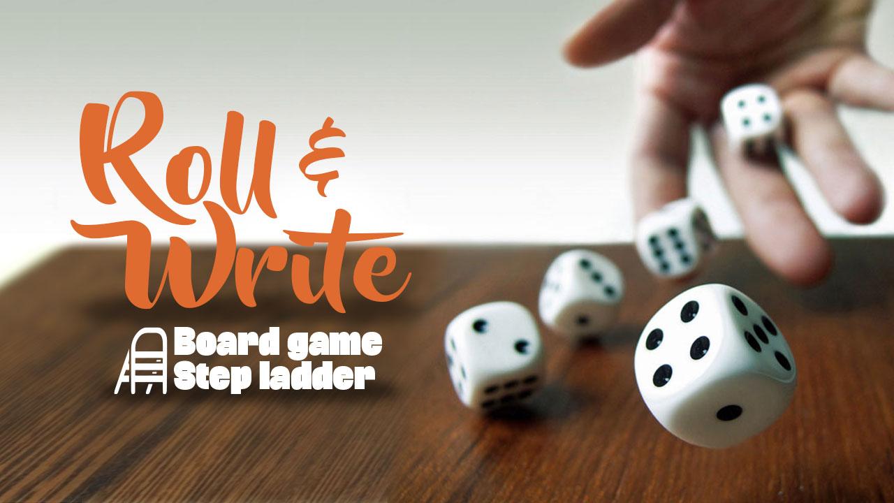 Roll & Write board game step ladder header