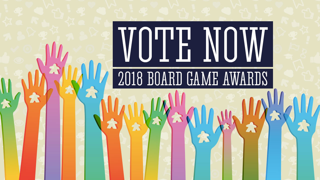 2018 Board Game Awards Voting Now Open - We Need You! header