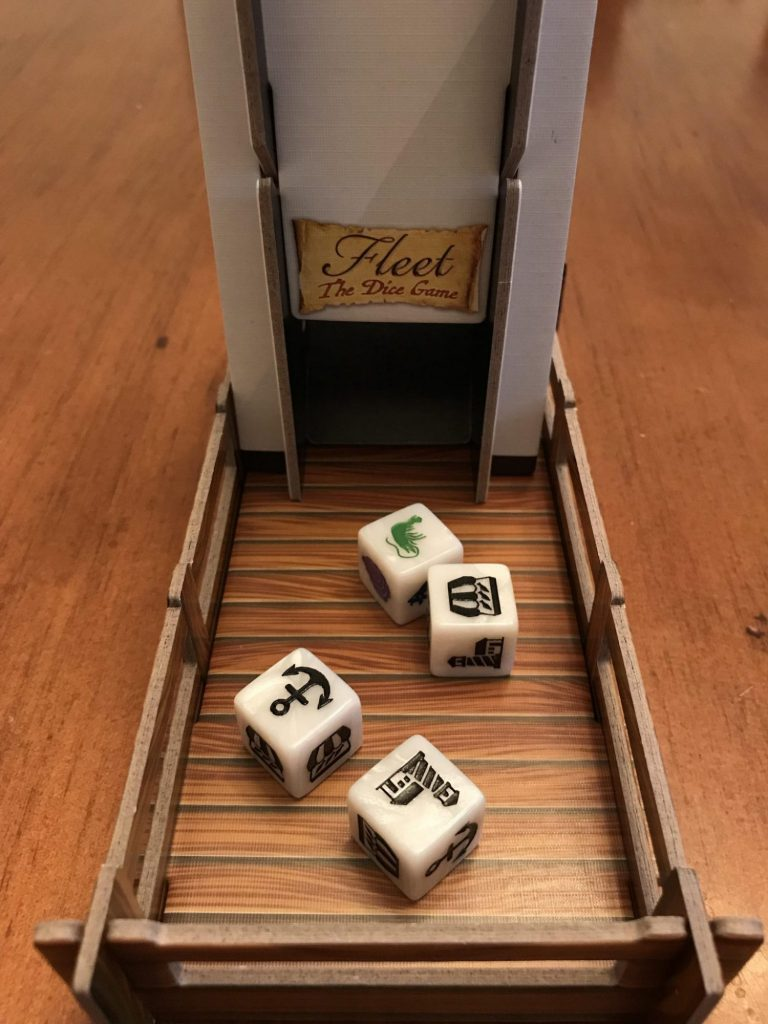 Fleet Dice Game dice tower comes with the deluxe version