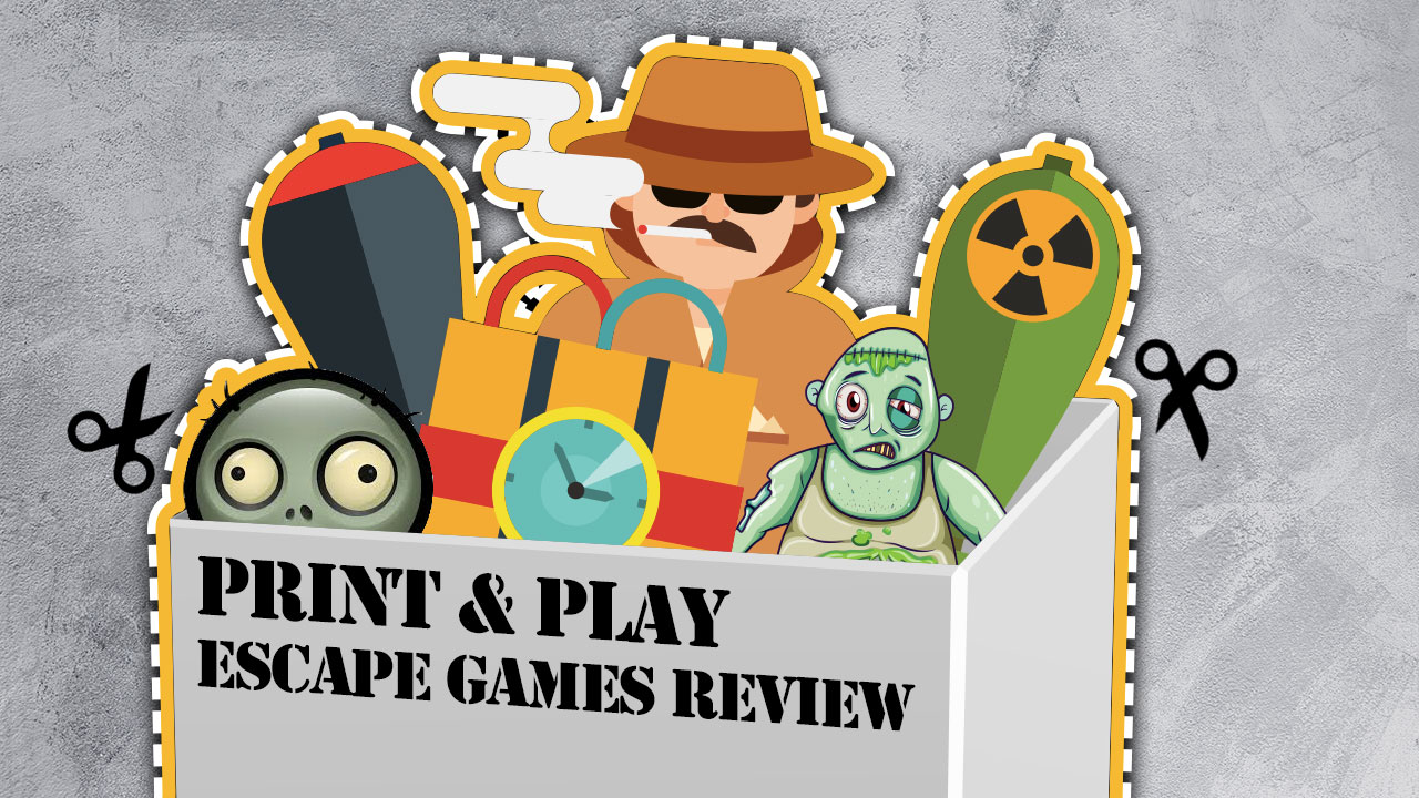 Print and Play Escape Games Review - Escape Team and Lock Paper Scissors header