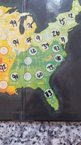 Picture of numbers filled in on the On Tour board