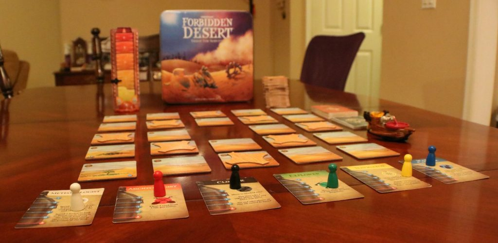 A picture of all of the Forbidden Desert components.