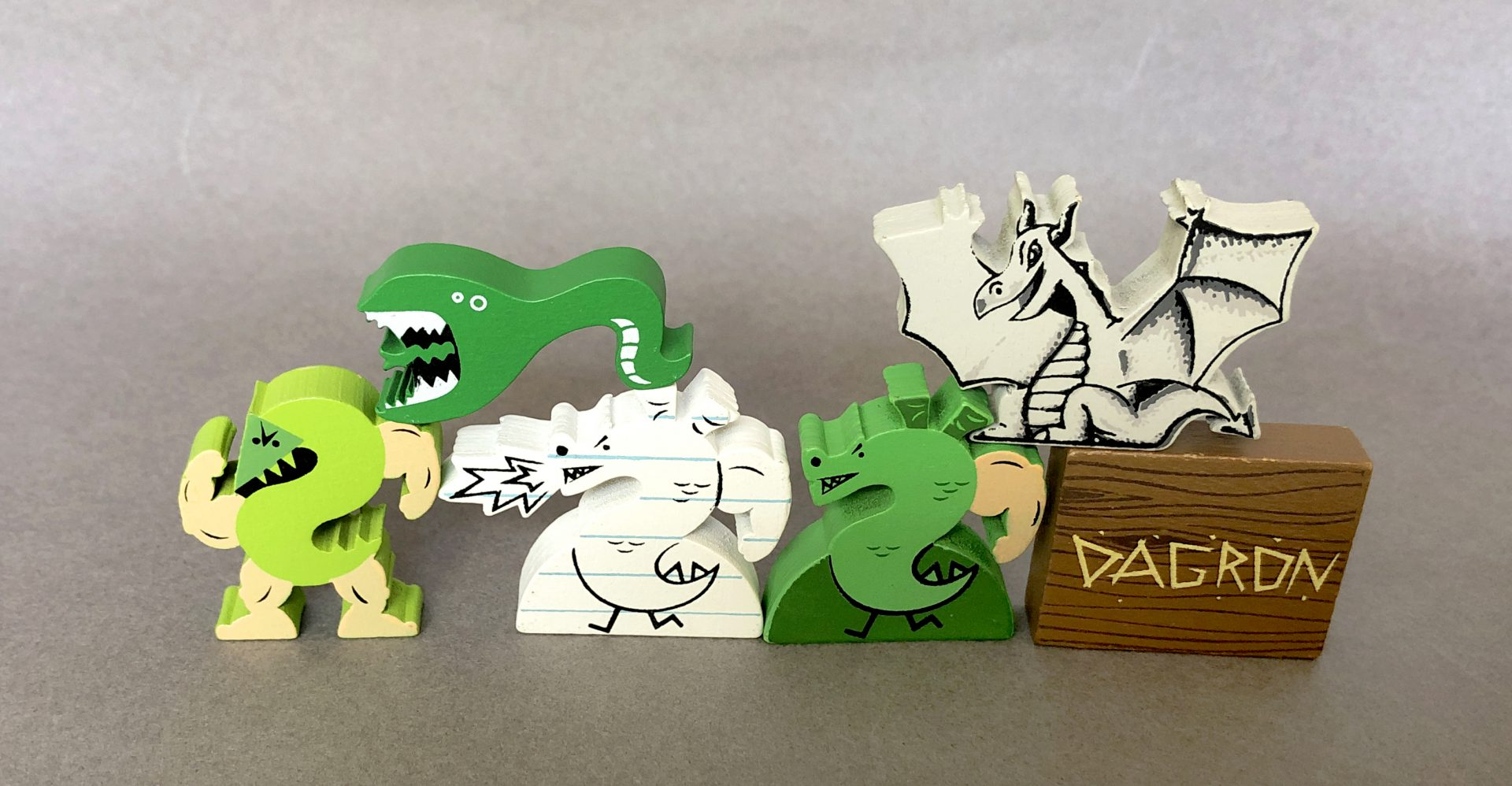A Variety of Trogdor Meeples