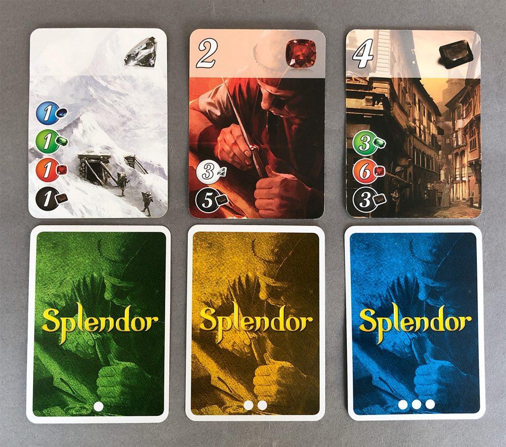 The three levels of Splendor cards