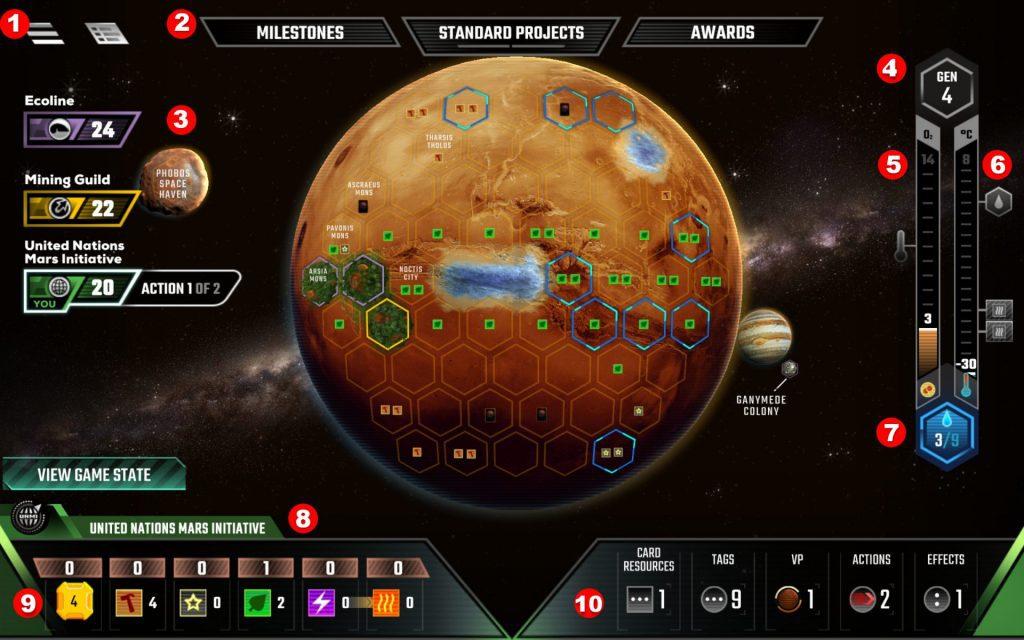 Terraforming Mars Digital Board Overview