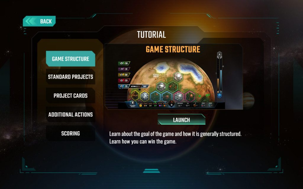 The introductory Tutorial screen