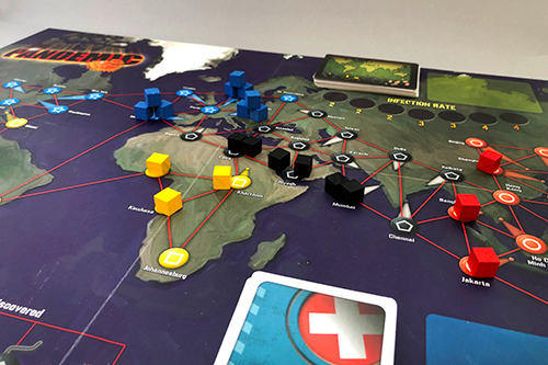 Pandemic set up with the standard cubes as viruses.