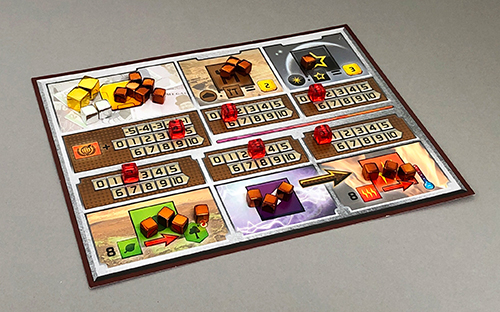 The standard Terraforming Mars player mat with counter and resource cubes.