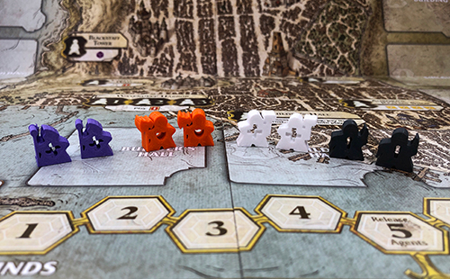 The 3D printed Lords of Waterdeep Meeples I now use. They're so much better! (BONUS: The see-through chest icons are each different, making them far more colorblind friendly!)