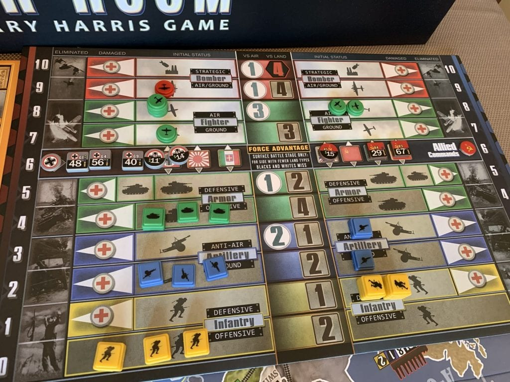 War Room Battle Board with Units for Axis and Allied Forces